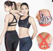 Active Crossback Bra Tank Yoga Women Fitness Stretch Workout Padded Top Gym