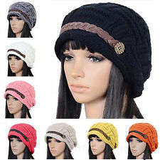 Women Braided Winter Warm Baggy Beanie Knit Oversized Crochet Ski Hats Cap New 1