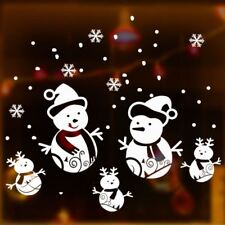 Snowman Family Christmas Vinyl Sticker Snowflake Shop Window Decor Art Decal