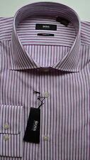 NWT Hugo Boss Black Label By Hugo Boss Stripe Cotton Sharp Fit Dress Shirt