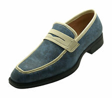 NEW Men's Leather Blue Casual Shoes Slip On Dress Loafers Wedding Prom Formal