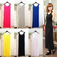 Women Boho Long Maxi Plain Exotic Dresses One Size Summer Evening Party  Beach