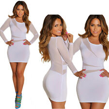 Women Sexy Long Sleeve Bandage Bodycon Dress Mesh Club Party Cocktail Mini Dress