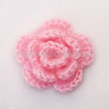 10pcs 3-layer Handmade Crochet Flowers Pink White Mountbatten Decor