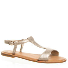 Women's Gold Snake T-strap Sandal Bamboo Shoes Bayside-21S