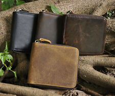 New Men Genuine Leather Zipper Wallet Cowhide Trifold Coin Purse Card Holder.