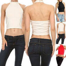 Sexy Solid Sleeveless Halterneck Fitted Crop Top Fashion T-Shirt Clubwear Casual