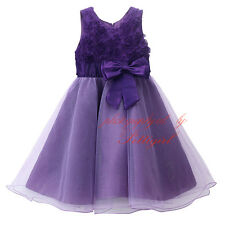 Children Baby Girl Princess Dress Purple Bow Tulle Wedding Ball Gown Communion