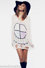 NWT Wildfox Couture White Label Clean White Lennon Gypsy Baby Sweater S $220