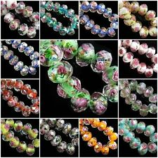 Wholesale Rondelle Faceted Glass Crystal Rose Flower Inside Beads Spacer 12mm