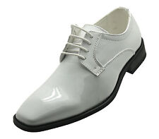 Mens Franazi Patent Leather Dress Shoes Formal Tuxedo Wedding Oxfords Prom White