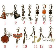 1x Punk Leather METAL Charm Retro Keyring Keychain Key Ring Chain for Men Gifts