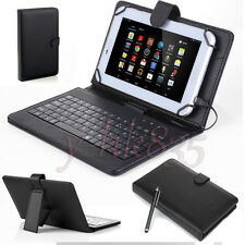 Black Micro USB Keyboard Folio Leather Case Cove for 7'' 8 inch Tablet PC Stylus