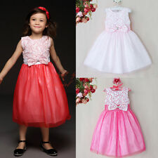 Flower Bow Girl Princess Dress Toddler Baby Tulle Birthday Wedding Holiday Party