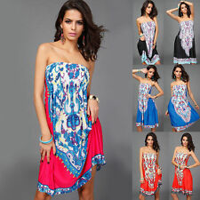 HOT Women Sexy Flower Print BOHO Off Shoulder Spring Summer Beach Dress Sundress