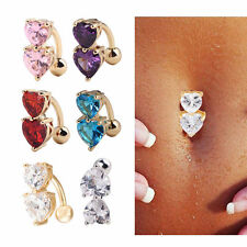 Body Piercing Reverse Crystal Bar Belly Ring Gold Button Navel Two Heart CHI