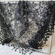 New Elegant Women Hollow Tassel Lace Rose Floral Silk Scarf Shawl Wrap Scarves