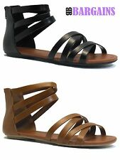 Strappy Sandals New Womens Fashion Gladiator Flats Open Toe Shoes Free Shipping