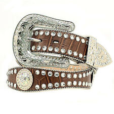 Blazin Roxx Womens Scalloped Rhinestone Brown Leather Belt