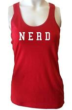 "NW WOMEN'S PRINTED ""NERD"" HEART LOVE RED WHITE COTTON FUNNY TANK TOP SHIRTS"