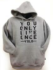 """For new mens heavy weight Pull over Grey Hoodie Printed """"YOLO"""" All Size S~5XL"""