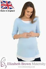 Mock-Layered Maternity Top Sky Blue and White size 10-12 14-16 18-20 22-24 26-28