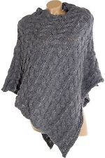 LADIES WOOL PONCHO VEST TURTLENECK PULLOVER SWEATER CHUNKY KNIT SHAWL SIZE 36-40