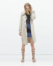 ZARA Woman Authentic BNWT Stone Drapey Long Trenchcoat Lapel Collar S15 0518/052