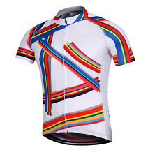 Men Cycling Jersey Top Pro Team Bike Bicycle Clothing Cycle Jersey Rainbow S-5XL