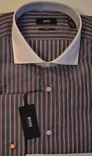 NWT Hugo Boss Black Label By Hugo Boss Sharp Fit Stripe French Cuffs Dress Shirt