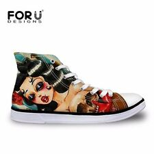 Skull/Pug Ladies Womens Hi High Top Flat Plimsolls Trainers Pumps Canvas Shoes