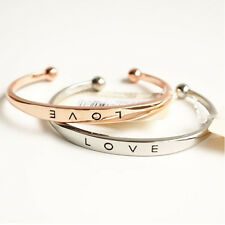 Women Gold/Silver Plated LOVE Bracelet Jewelry Stainless Steel Cuff Bangle