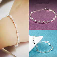 nice Bangle Women Silver Plated Crystal Chain Cuff Charm Bracelet Jewelry CHI