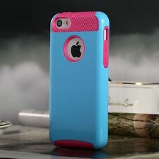 For iPhone 5C Hybrid Colorful Hard Slim Case Cover+ Screen Protector- Blue/Rose