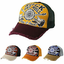 Rock and Roll Vintage Crack Printed Mesh Hats Trucker Caps Adjustable Snapback