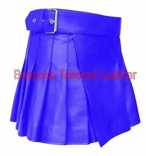 Leather Kilt  in  Real Leather in BLUE  BKLN002