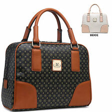 Ladies Faux Leather Designer Print Handbag Weekend Bag Shoulder Travel Bag M802