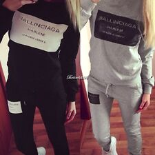 New Women Casual Letter Print Pullover Sweatshirt Sweats + Pants Set Tracksuit