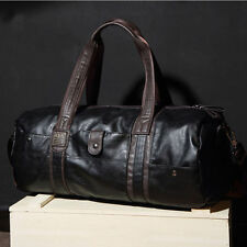 "Men's 20"" Leather Sport Travel Carry-On Overnight Handbags Duffel Weekender Bag"