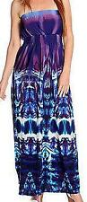 NEW One World Printed Knit Strapless Smocked Waist Bandeau Maxi Dress