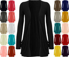 NEW WOMENS LADIES LONG SLEEVE BOYFRIEND CARDIGAN WITH POCKETS