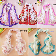 Hot Women Lady Chiffon Flowers Soft Long Neck Scarf Shawl Scarves Stole Wraps