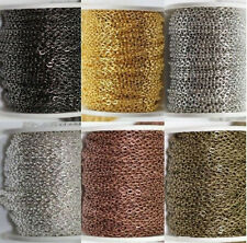 1/5M Silver/Gold Plated Cable Open Link Iron Metal Chains Jewelry Findings 3x2MM