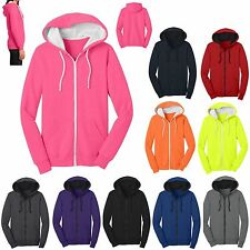 JUNIORS FULL ZIP, LIGHTWEIGHT FLEECE, HOODIE, NEON TOO! XS S M L XL 2X 3X 4X