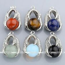1x Fashion Silvery Copper Eagle Talon Wrap Round Ball Gemstone Bead Pendant Gift
