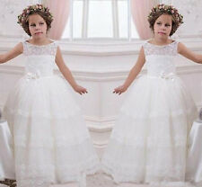 Tutu dress white Lace Wedding Formal Flower Girl Dress Pageant Fluffy Ivory lace