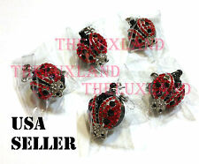 Wholesale Rhinestone Crystal retractable ID badge reel holder - Lady Bug