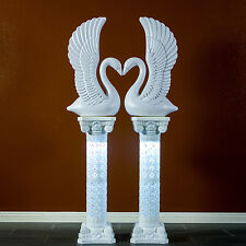 Elegant White Decorative Plastic Swans and Roman Wedding Columns Set