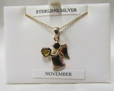 NOVEMBER: Sterling Silver Birthstone Guardian Angel. Birthday present.  Necklace