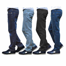 New Mens Regular Fit Jeans Straight Leg Plain Trouser Basic Black Dark Blue Work